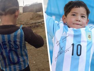 Afghan boy gets a real Lionel Messi jersey