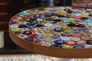 How to make a table with beer bottle caps